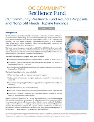 OC Community Resilience Fund Report