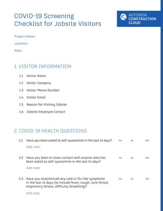 COVID-19 Screening Checklist for Jobsite Visitors