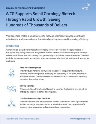 WCG Supports Small Oncology Biotech Through Rapid Growth, Saving Hundreds of Thousands of Dollars