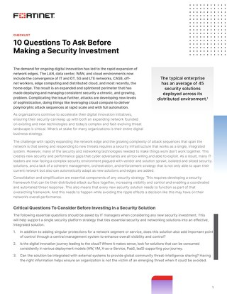 10 Questions To Ask Before Making a Security Investment