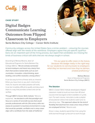 Santa Barbara City College: Digital Badges Communicate Learning Outcomes from Flipped Classroom to Employers