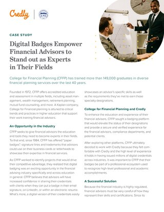 College for Financial Planning: Digital Badges Empower Financial Advisors to Stand out as Experts in Their Fields