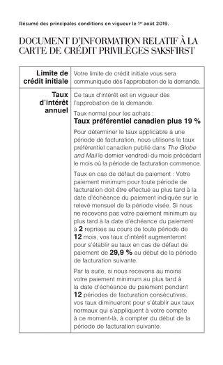 Conditions de votre compte de crédit PrivilègesSaksFirst