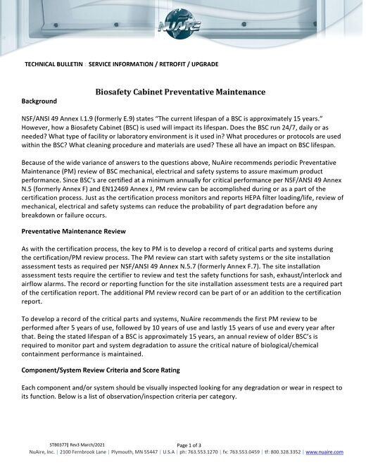 [Bulletin] Biosafety Cabinet Preventive Maintenance