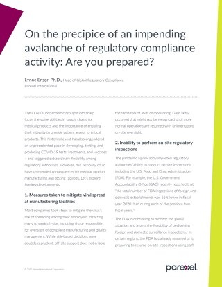 Impending avalanche of regulatory compliance activity: Are you prepared?