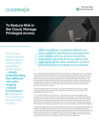 Reduce Risk in the Cloud: Guidewire and CloudKnox