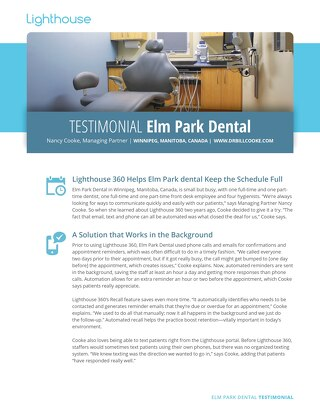 Elm Park Dental Testimonial