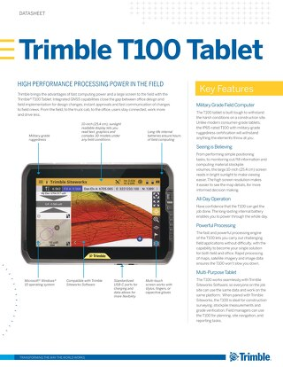 Trimble T100 Tablet Datasheet - English