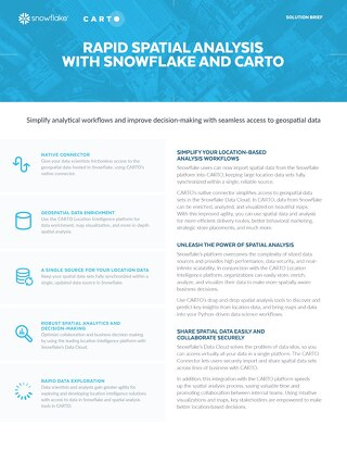 Rapid Spatial Analysis With Snowflake and Carto