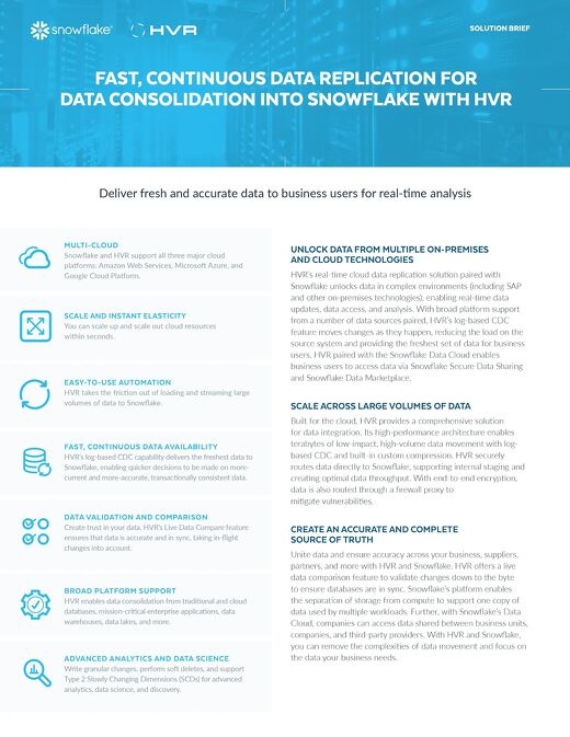Fast, Continuous Data Replication For Data Consolidation Into Snowflake With HVR
