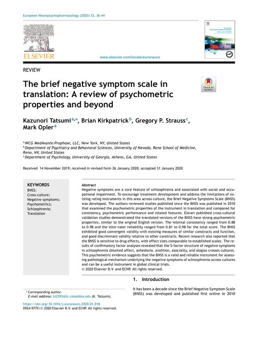 The BNSS Scale In Translation: A Review of Psychometric Properties and Beyond
