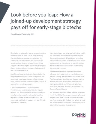 How a joined-up development strategy pays off for early-stage biotechs