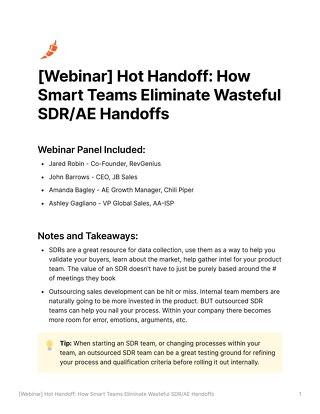 [Webinar Notes] Hot Handoff - How Smart Teams Eliminate Wasteful SDRAE Handoffs