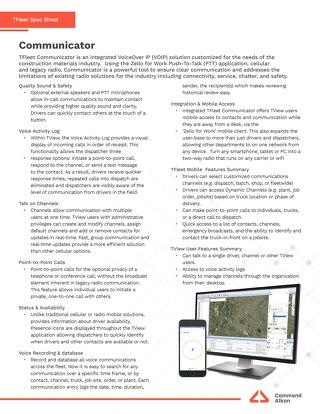 TFleet Communicator Spec Sheet