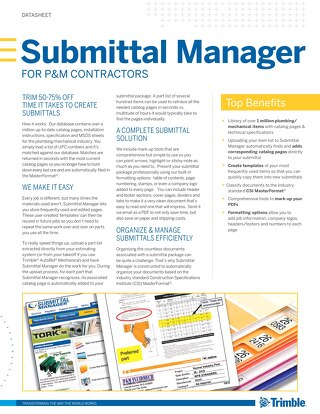 Submittal Manager for Plumbing and Mechanical Contractors