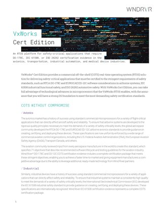 VxWorks Cert Edition Product Overview
