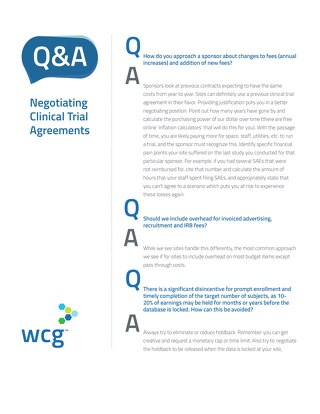 Q&A - Negotiating Clinical Trial Agreements for Sites