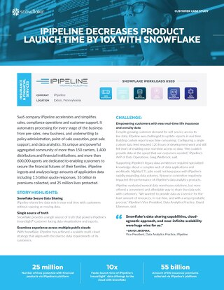 iPipeline Decreases Product Launch Time by 10x With Snowflake