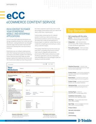 Trimble MEP eCommerce Content Datasheet for Distributors