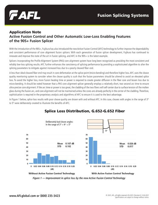 Application Note: Active Fusion Control and Other Automatic Low-Loss Enabling Features  of the 90S+ Fusion Splicer