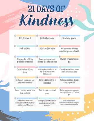 21 Days Of Kindness Calendar