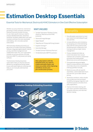 Trimble Datasheet Estimation Desktop Estimating Essentials