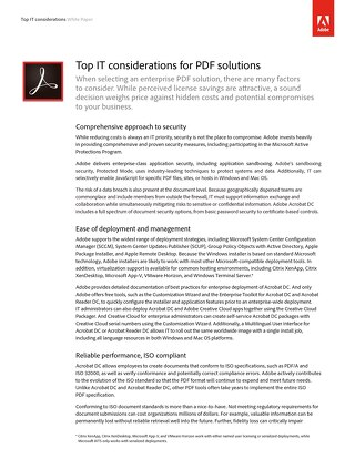 Top IT Considerations for PDF Solutions - Adobe
