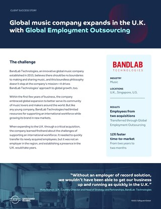 Global music company expands in the U.K. with Global Employment Outsourcing