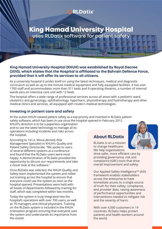 King Hamad University Hospital Invests in Patient Care and Safety