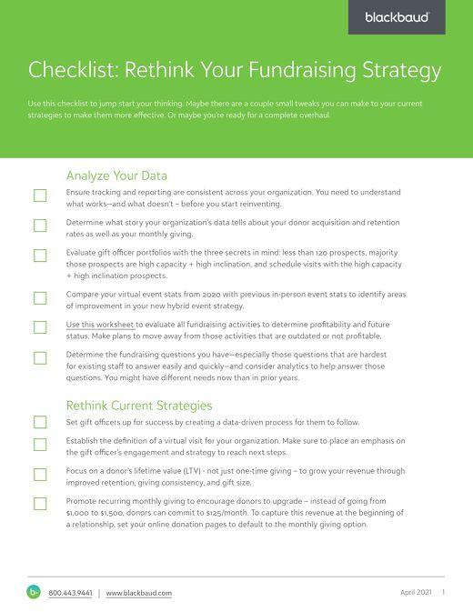 Rethink Fundraising Checklist