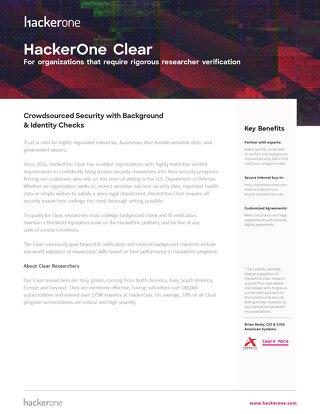 HackerOne Clear Datasheet