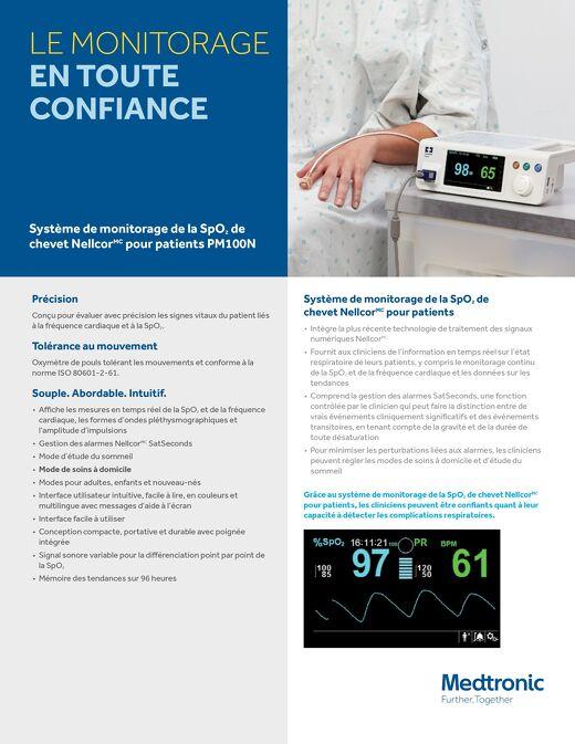Système de monitorage de la SpO2 de chevet Nellcor pour patients PM100N