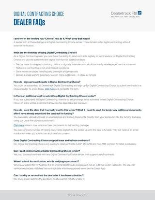Digital Contracting Choice FAQ