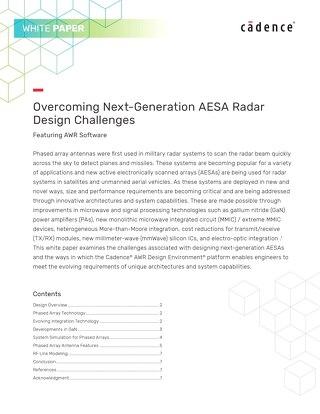 Overcoming Next-Generation AESA Radar Design Challenges