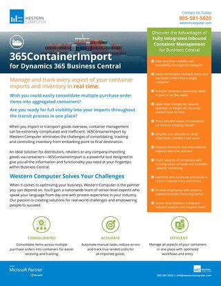 365ContainerImport by Western Computer