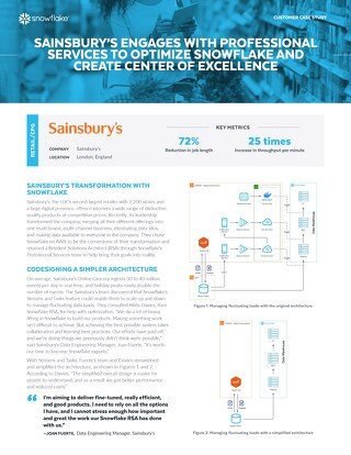 Sainsbury's Engages With Professional Services to Optimize Snowflake and Create Center of Excellence