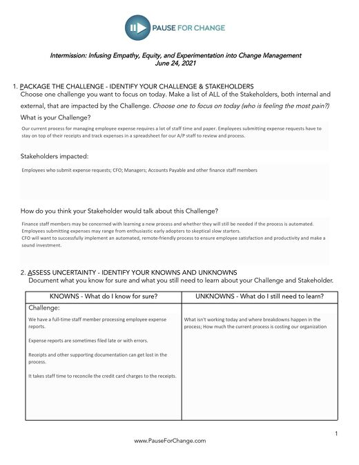 Worksheet: Infusing Empathy, Equity, and Experimentation into Change Management