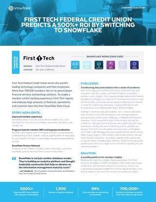 First Tech Federal Credit Union Predicts a 500%+ ROI by Switching to Snowflake
