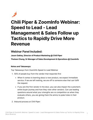 [Webinar Notes] Chili Piper & Zoominfo: Speed to Lead Webinar