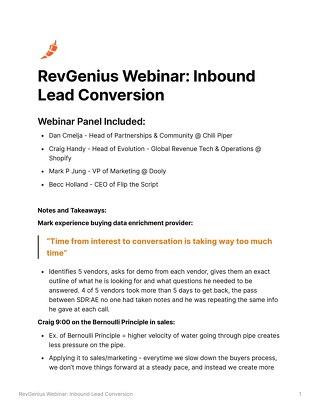 [Webinar Notes] RevGenius Webinar: Inbound Lead Conversion