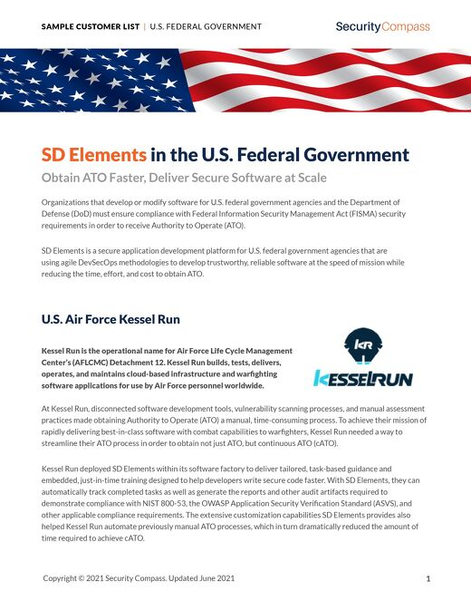SD Elements in the U.S. Federal Government