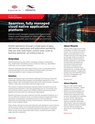 Solution Brief: Mirantis Container Cloud Powered by Equinix Metal