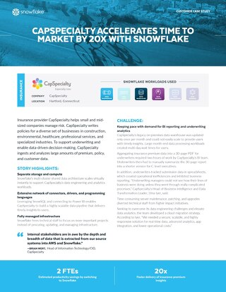 Capspecialty Accelerates Time to Market by 20x With Snowflake