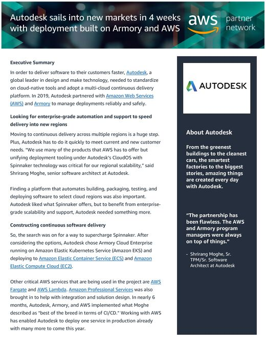 Autodesk sails into new markets in 4 weeks with deployment built on Armory and AWS