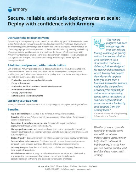 Armory Datasheet: Quick, Reliable, and Safe Deployments