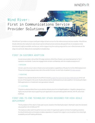 Wind River: First in Communications Service Provider Solutions