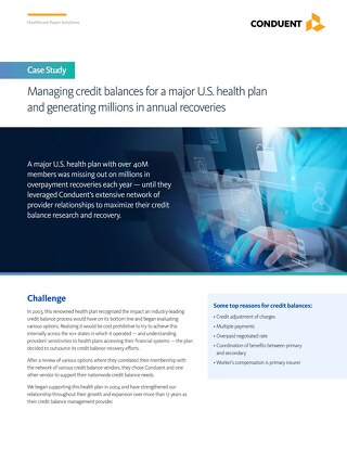 Managing credit balances for a major U.S. health plan and generating millions in annual recoveries