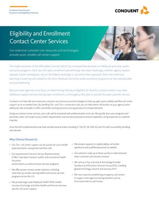 Eligibility and Enrollment Contact Center Services