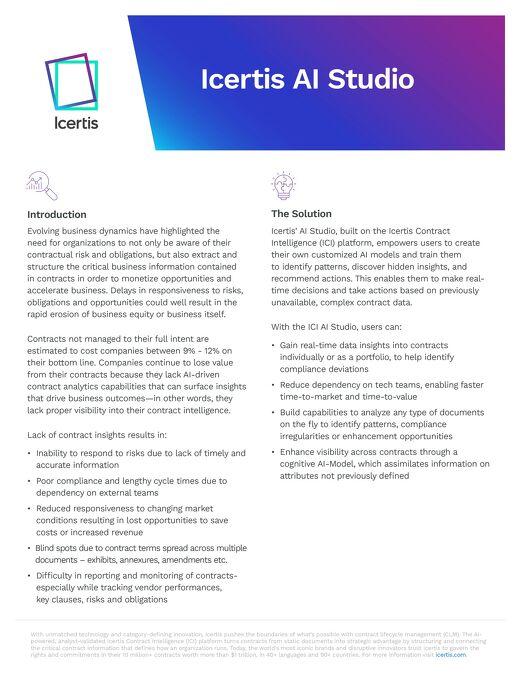 The Icertis AI Studio
