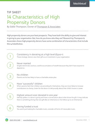 14 Characteristics of High Propensity Donors
